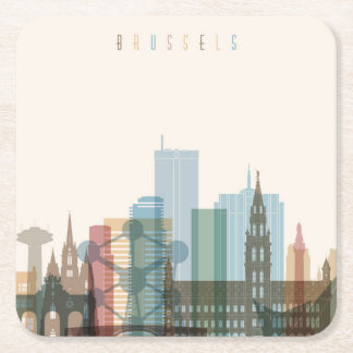 Brussels, Belgium | City Skyline Square Paper Coaster