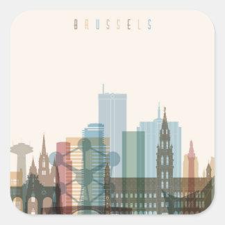 Brussels, Belgium | City Skyline Square Sticker
