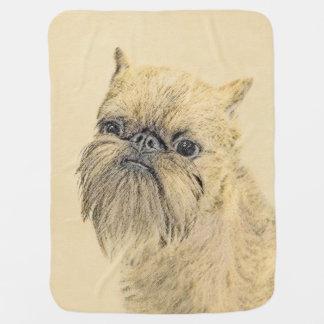 Brussels Griffon Painting - Cute Original Dog Art Baby Blanket