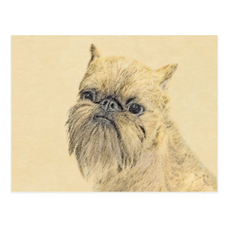 Brussels Griffon Painting - Cute Original Dog Art Postcard