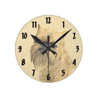 Brussels Griffon Painting - Cute Original Dog Art Round Clock