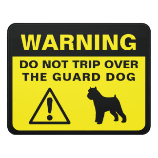 Brussels Griffon Silhouette Guard Dog Warning Door Sign