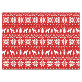 Brussels Griffon Silhouettes Christmas Pattern Red Tissue Paper
