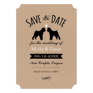 Brussels Griffon Silhouettes Wedding Save the Date Card