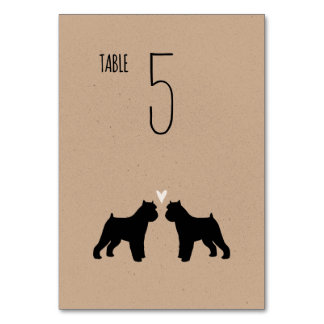 Brussels Griffon Silhouettes Wedding Table Card