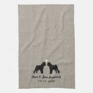 Brussels Griffon Silhouettes with Heart Tea Towel
