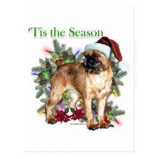 Brussels Griffon Tis the Season Postcard
