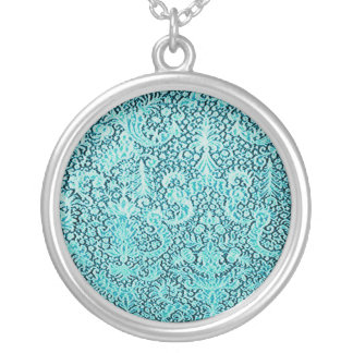 Brussels Lace Sea Blue Pattern Round Necklace