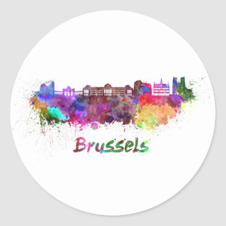 Brussels skyline in watercolor classic round sticker
