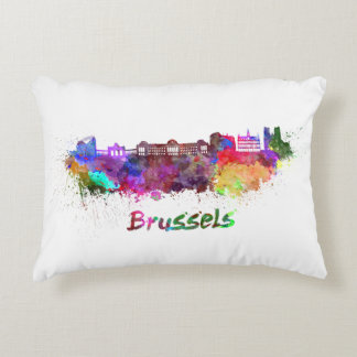 Brussels skyline in watercolor decorative cushion