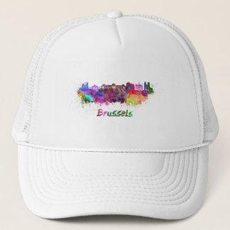 Brussels skyline in watercolor trucker hat