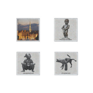 Bruxelles and statues Pis Stone Magnet