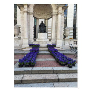 Bryant Park Statue Spring Flowers New York City NY Postcard