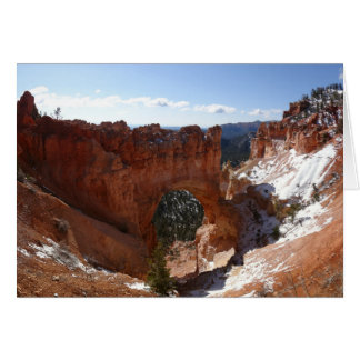 Bryce Canyon Natural Bridge Snowy Landscape Photo Card