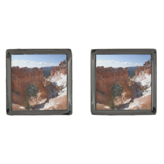 Bryce Canyon Natural Bridge Snowy Landscape Photo Gunmetal Finish Cufflinks