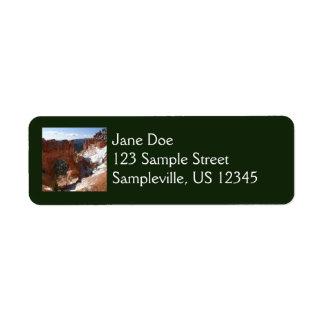 Bryce Canyon Natural Bridge Snowy Landscape Photo Return Address Label