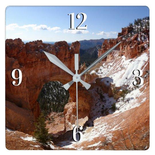 Bryce Canyon Natural Bridge Snowy Landscape Photo Square Wall Clock