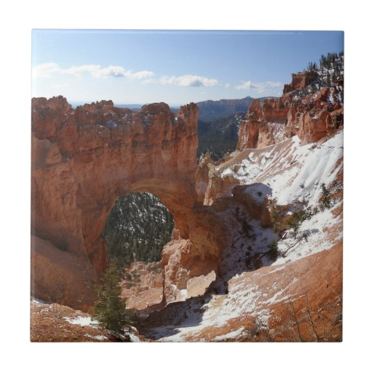 Bryce Canyon Natural Bridge Snowy Landscape Photo Tile