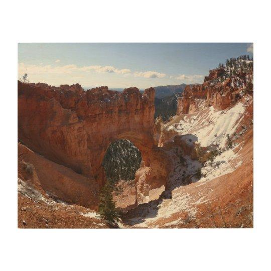 Bryce Canyon Natural Bridge Snowy Landscape Photo Wood Print