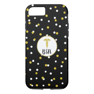 BSN Caduceus Nurse Black + Gold Confetti iPhone 8/7 Case