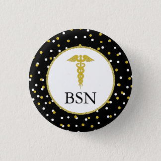 BSN nursing student graduation gift, caduceus gold 3 Cm Round Badge