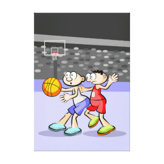 Bsquetbol young fighting by the ball canvas print