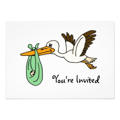 BT- Funny Stork Baby Shower Invitations
