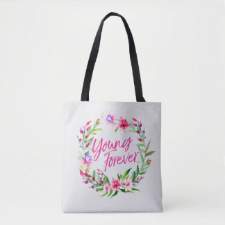 BTS YOUNG FOREVER FLORAL WREATH TOTE BAG