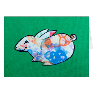 Bubble Art Bunny on Handmade Recycled Paper Card