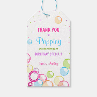 Bubble birthday thank you favor gift tag Girl Pink