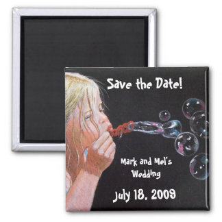 BUBBLE BLOWER SAVE THE DATE SQUARE MAGNET