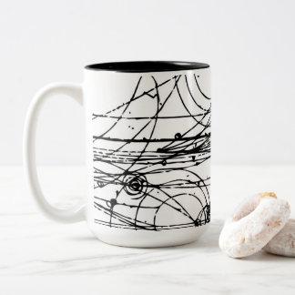 Bubble chamber tracks Two-Tone coffee mug