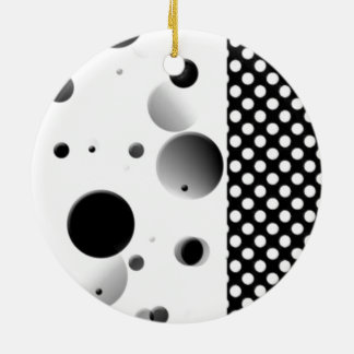 Bubble Dots - Black and White Double-Sided Ceramic Round Christmas Ornament