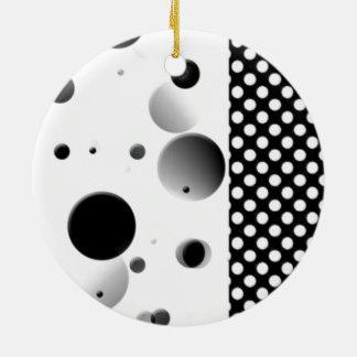 Bubble Dots - Black and White Round Ceramic Decoration