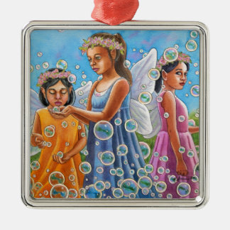 Bubble Fairies Metal Ornament