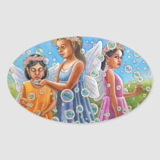 Bubble Fairies Oval Sticker