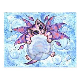 Bubble Fairy Kitten Fantasy Cat Art Postcard