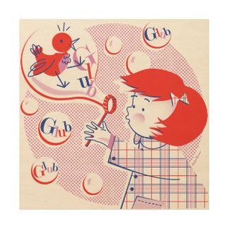 Bubble, Girl! Retro Wood Print 12x12
