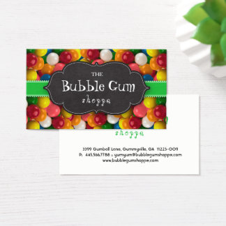 Bubble Gum Colorful Gumball Green Strip Chalkboard Business Card