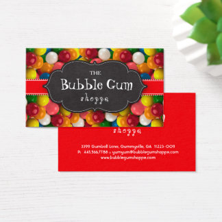 Bubble Gum Colorful Gumball Red Stripe Chalkboard Business Card