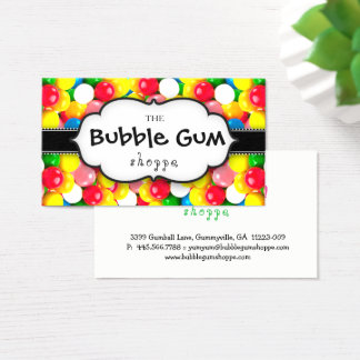Bubble Gum Colorful Gumball White Strip Chalkboard Business Card