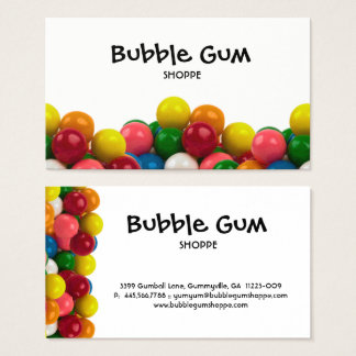 Bubble Gum Colorful Gumballs White Background Business Card