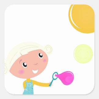 BUBBLE GUM KID. KID WITH BUBBLES SQUARE STICKER
