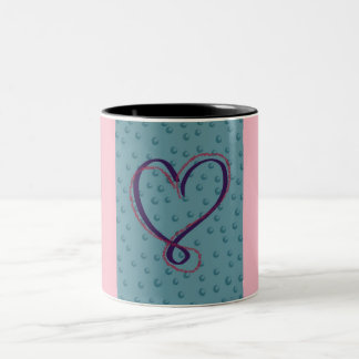 Bubble Love 2-tone mug: pink Two-Tone Coffee Mug