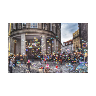 Bubble mania in Prague Canvas Print