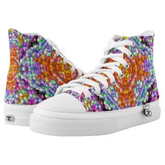 Bubble-Mosaic Diamond-Star-Mandala Hi-Tops Printed Shoes