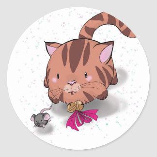 Bubble pets cat and mouse classic round sticker