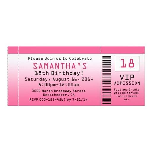 Bubble Pink Ticket Invitations