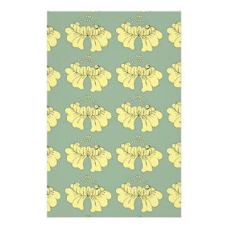 bubbleflower yellow on green custom stationery