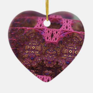 Bubblegum Aztec Ceramic Heart Decoration